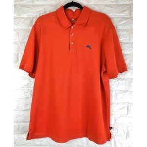 Tommy Bahama Supima Orange Cotton Polo Shirt Sz XL